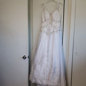 White wedding dress with matching accessories